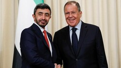 Russian Foreign Minister Sergey Lavrov, right, and Foreign Minister of the United Arab Emirates, Sheikh Abdullah bin Zayed Al Nahyan shake hands after their joint news conference following their talks in Moscow.