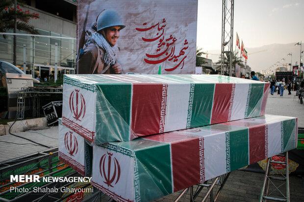مراسم وداع با پیکرهای مطهر150 شهید تازهتفحصشده دوران دفاع مقدس