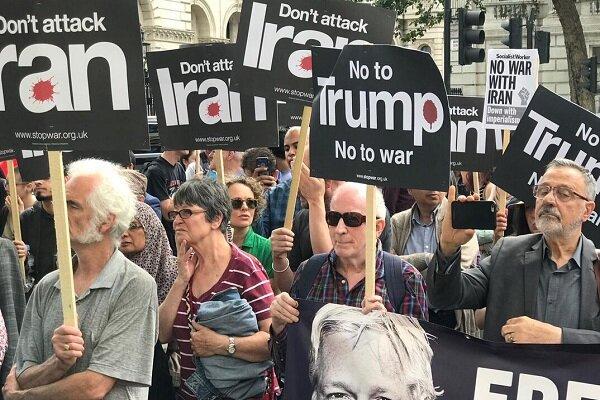 ناشطون ضد الحرب في بريطانيا يدينون سياسات ترامب ضد ايران