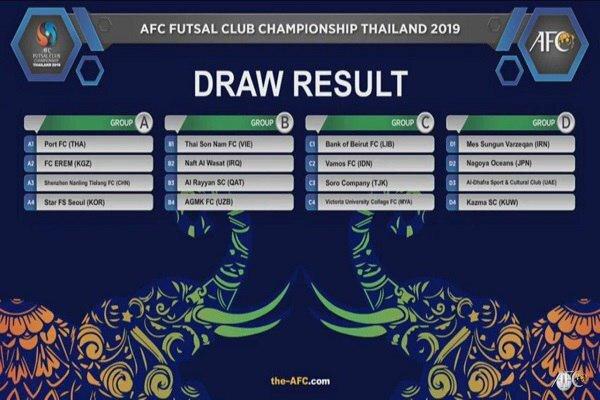 حریفان مس سونگون در مسابقات فوتسال باشگاههای آسیا مشخص شدند