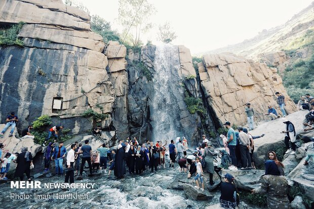 Ganjnameh waterfall in Hamedan province