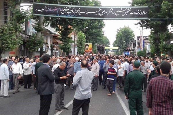 تشییع پیکر مطهر شهید «حسین رستمی» در رودسر