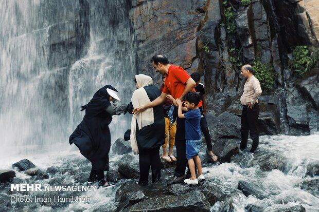 Ganjnameh waterfall in Hamedan province
