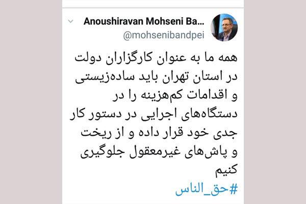 تاکید استاندار تهران بر جلوگیری از ریخت و پاش های غیرمعقول