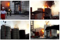 اعزام ۱۰ تیم عملیاتی برای اطفای آتشسوزی کارخانه مشتقات نفتی در کرمانشاه