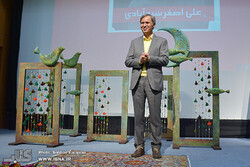 Ali-Asghar Seyyedabadi attends a ceremony held by the IIDCYA in Tehran on February 24, 2019 to celebrate the writer's lifetime achievements in children's literature. (IBNA/Sobhan Farajvan)