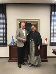 WHO Representative in Iran Christoph Hamelmann, (left) and ambassador of Japan to Iran Mitsugu Saito