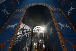 A replica of the Ishtar Gate, which was one of the original Seven Wonders of the World