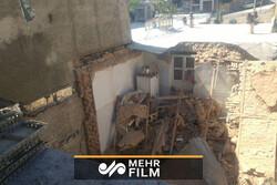 فیلمی از حادثه ساختمان تخریب شده در خیابان نصرت تهران