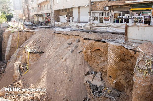 ظهور آثار تاريخية من قبل التراب في مدينة تبريز