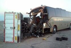تصادف اتوبوس با کامیون در محورقزوین -کرج ۳ مجروح بر جای گذاشت