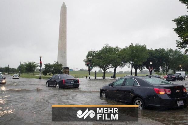 Washington'da sel hayatı olumsuz etkiledi