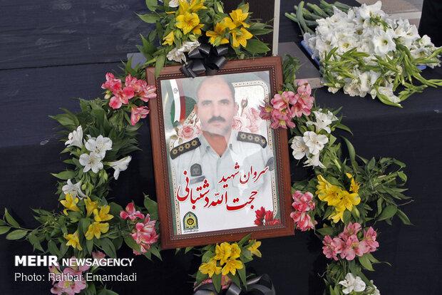 مراسم تشییع پیکر سروان شهید حجت الله دشتبانی شهید نیروی انتظامی در بندرعباس