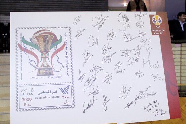 تمبر یادبود حضور کاپ جام جهانی بسکتبال در ایران رونمایی شد