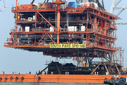 Installing giant platform at South Pars gas field