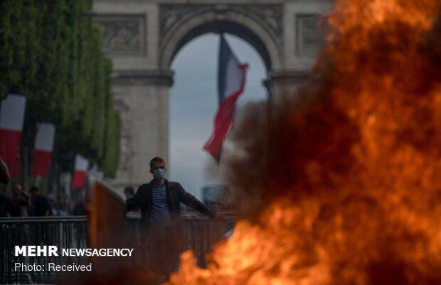 Fransa Milli Günün'de protesto