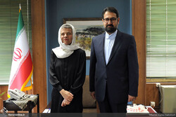 Cite internationale des arts director-general Benedicte Alliot (L) and Deputy Culture Minister for Artistic Affairs Seyyed Mojtaba Hosseini meet in Tehran on July 15, 2019. (Honaronline/Gata Ziatabari