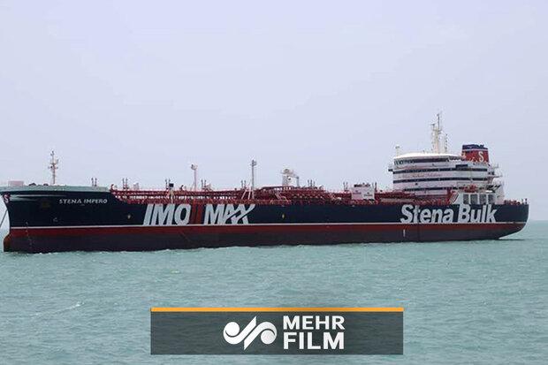 أول فیدیو لناقلة النفط البريطانية المحتجزة بمضيق هرمز / فيديو