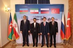 From left to right, Azerbaijan ICT minister Ramin Quluzade and his counterparts Iran's Seyyed Javad Azari Jahromi, Russia's Konstantin Noskov and Turkey's Omer Abdullah Karagozoglu pose for a photo