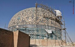 Restored creamy tiles to be reinstalled on Iranian architecture masterpiece
