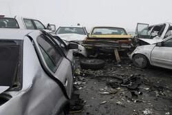 تصادف زنجیره ای ۱۲ خودرو در محور بجنورد به اسفراین