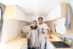 Ciara and Lennart in their camper van (Photo: Maryam Kamyab, July 29,  2019)