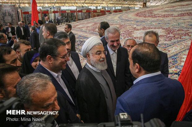 افتتاح نمایشگاه بینالمللی فرش تبریز با حضور روحانی
