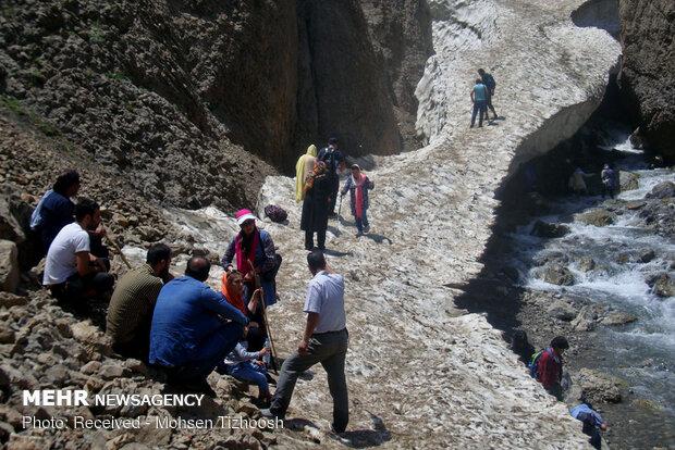 Azna snowy tunnel in Lorestan province