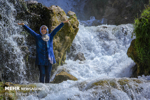 Summer in Sheikh Ali Khan Waterfall in Kuhrang