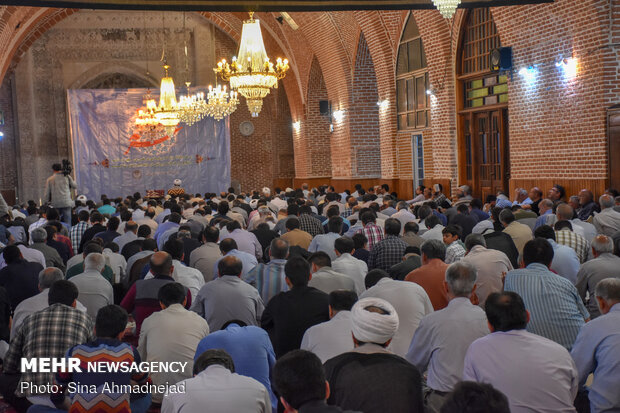 People perform Arafa Day prayers in Tabriz
