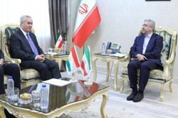 Iranian Energy Minister Reza Ardakanian (R) discussed energy cooperation with Tajikistan's ambassador to Iran, Nizamuddin Zahedi, in Tehran on Tuesday
