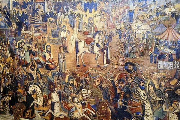 اجرای نقالی و پردهخوانی توسط هنرمند یزدی در نجف