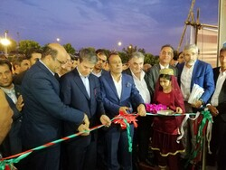 Local officials cut ribbon on concurrent exhibits of tourism and handicrafts at the Urmia Permanent International Fairground, in the capital of Iran's West Azarbaijan province, August 17, 2019.