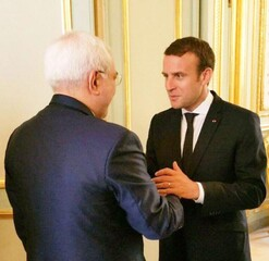 Mohammad Javad Zarif and French President Emmanuel Macron