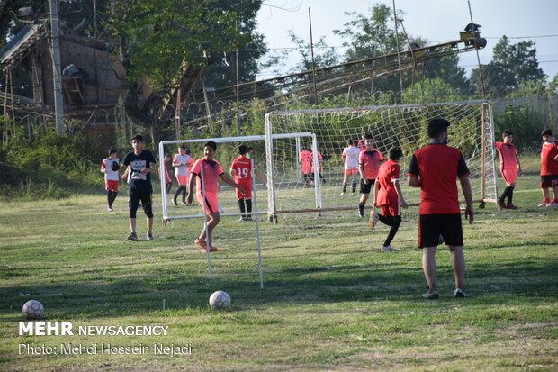 Playing football at border with Azerbaijan