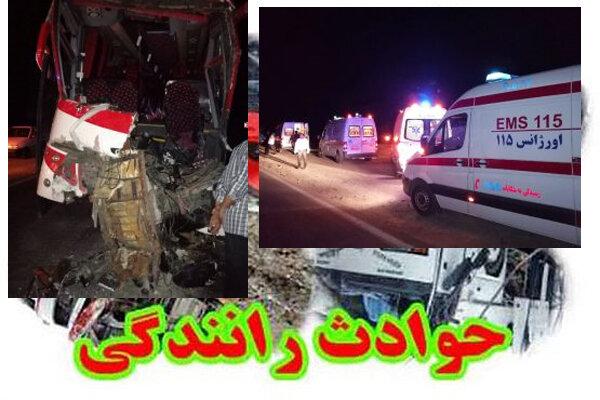 تصادف اتوبوس با خودرو حمل بتن یک کشته و ۲۲ مجروح برجای گذاشت