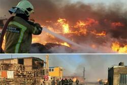 آتش سوزی وسیع کارگاه پالت سازی باغستان مهار شد