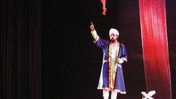 "H. R. Anik plays the role of Persian poet Sheikh Muslih od-Din Sadi Shirazi in ""Sheikh Sadi"" the National Theatre Hall in Dhaka, Bangladesh on August 29, 2019."