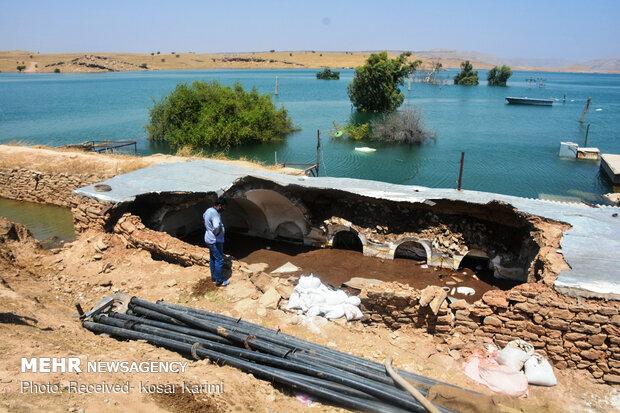 زیر آب رفتن چند روستای مسجد سلیمان