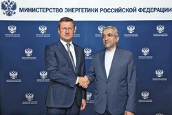 Iranian Energy Minister Reza Ardakanian (R) and his Russian counterpart Alexander Novak met in Moscow