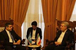 Ali-Asghar Mounesan (R) and Zurab Pololikashvili hold talks in an undated photo.