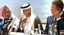 OPEC Secretary General Mohammed Sanusi Barkindo (L), Saudi Arabia's Energy Minister Prince Abdulaziz bin Salman (C) and Russian Energy Minister Alexander Novak (R) attend an OPEC+ meeting in the UAE capital Abu Dhabi on September 12, 2019. (AFP photo)