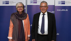 Chairman of INSTEX Michael Erhard Bock (R) met with Head of German-Iranian Chamber of Commerce Dagmar von Bohnstein in Tehran on Monday.