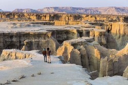Travelers visit natural attractions on Qeshm Island, southern Iran.