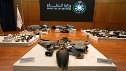 Remains of the weapons which Saudi government says were used to attack an Aramco oil facility, are displayed during a news conference in Riyadh, Saudi Arabia September 18, 2019.