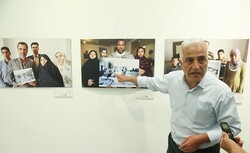 "Photojournalist Saeid Sadeqi speaks during the opening ceremony of his exhibition ""After That Day"" at the Iranian Artists Forum in Tehran on September 22, 2019. (Tasnim/Amin Ahui)"