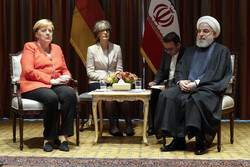 President Hassan Rouhani and German Chancellor Angela Merkel in New York on the sidelines of the 74th Session of the United Nations General Assembly