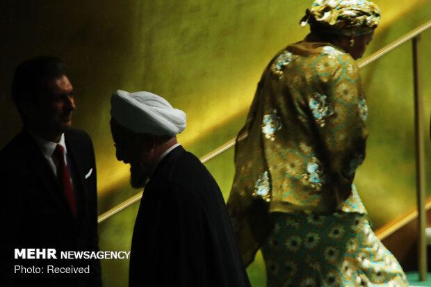 روحاني في قاعة الجمعية العامة للأمم المتحدة