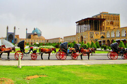 A view of the UNESCO-registered Imam Sq., Isfahan, central Iran, and the Ali Qapu Palace is seen on the right.