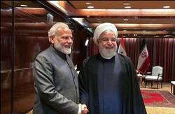 Indian Prime Minister Narendra Modi- Iranian President Hassan Rouhani